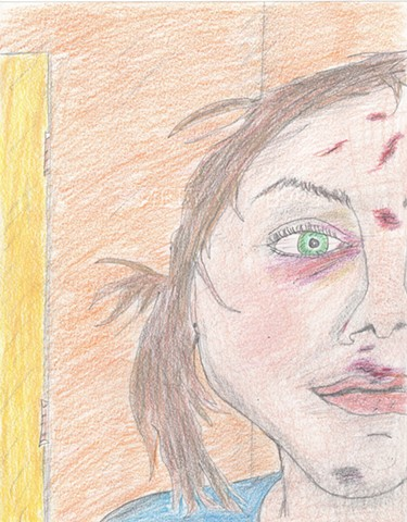 Colored pencil portrait drawing of a bruised young woman by Christopher Stanton
