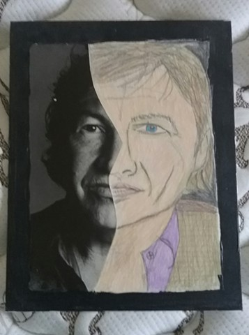 Mixed media portrait of Robert Rauschenberg by Christopher Stanton