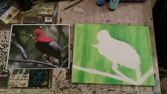 Acrylic painting of a bird in progress by Christopher Stanton