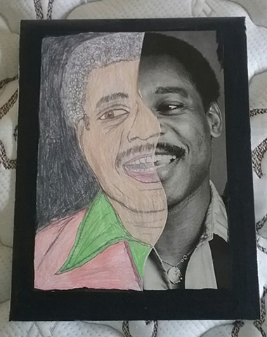 Mixed media portrait of George Benson by Christopher Stanton