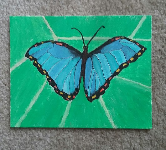 Painting of a Blue Morpho Butterfly
