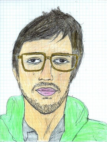 Portrait drawing of the artist Adam Roth by Christopher Stanton