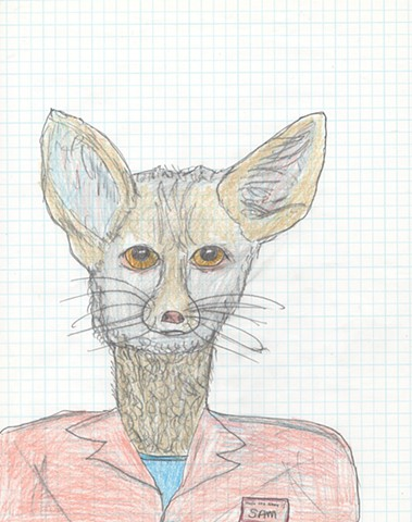 Illustration drawing of a Fennec FoxMan by Christopher Stanton