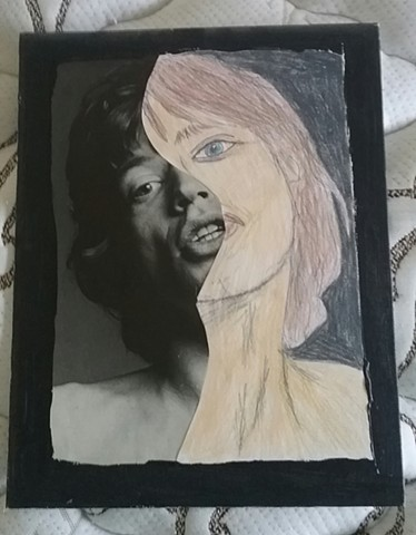 Mixed media portrait of Mick Jagger by Christopher Stanton