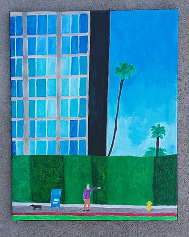 Acrylic painting of a Los Angeles street scene by Christopher Stanton