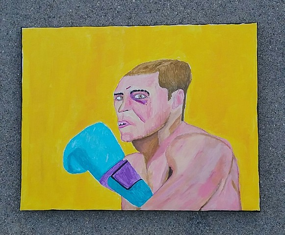 Acrylic painting of a boxer by Christopher Stanton