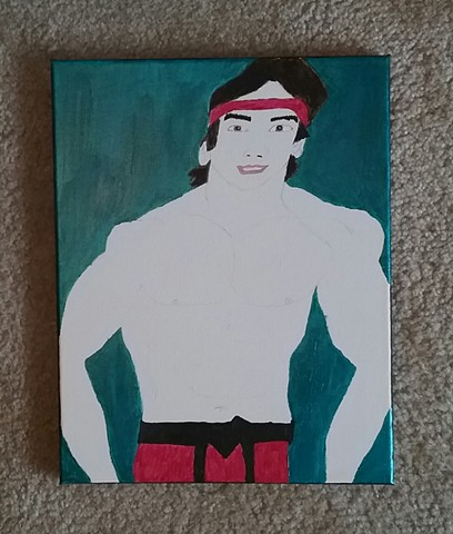 Acrylic painting of Ricky Steamboat in progress by Christopher Stanton