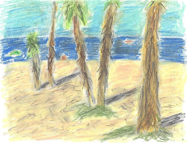 Pastel beach drawing by Christopher Stanton