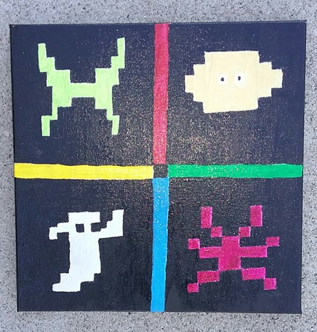 Acrylic painting of an homage to Atari's Haunted House by Christopher Stanton