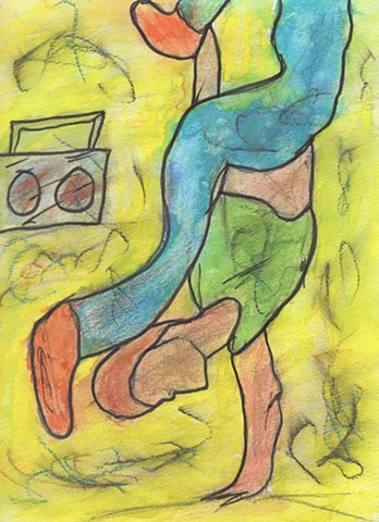 Oil pastel study of a break dancer by Christopher Stanton
