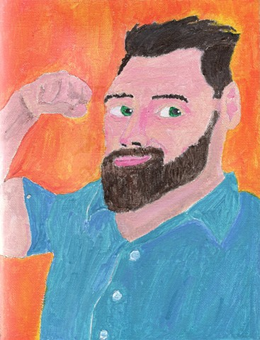 Acrylic portrait of a bearded muscle man by Christopher Stanton