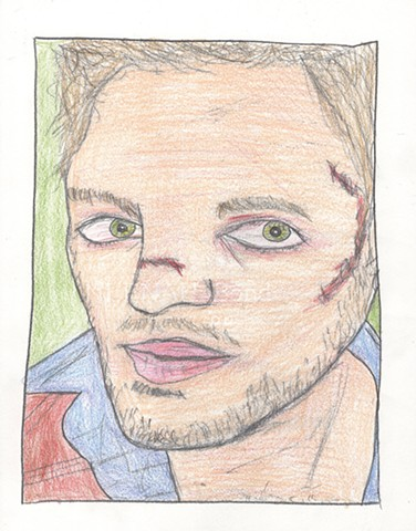 Colored pencil portrait drawing of a bruised young man by Christopher Stanton