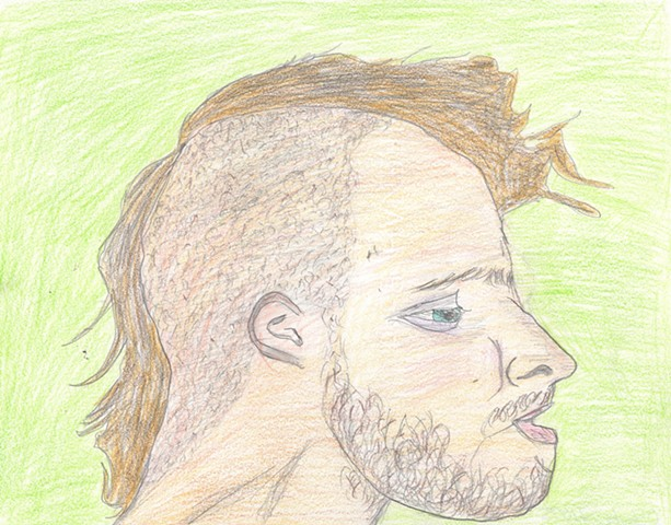 Drawing of a man with a mohawk by Christopher Stanton