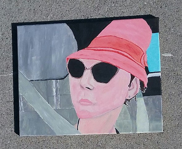Acrylic painting of a woman in a car by Christopher Stanton