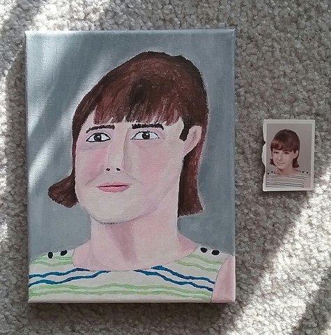 Acrylic painting by Christopher Stanton of a 1960s woman from a found photo