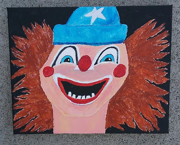 Acrylic painting of the clown from Poltergeist by Christopher Stanton