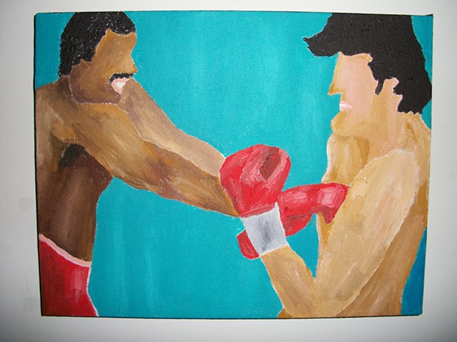 Painting of Rocky Balboa fighting Apollo Creed from the film Rocky II by Christopher Stanton