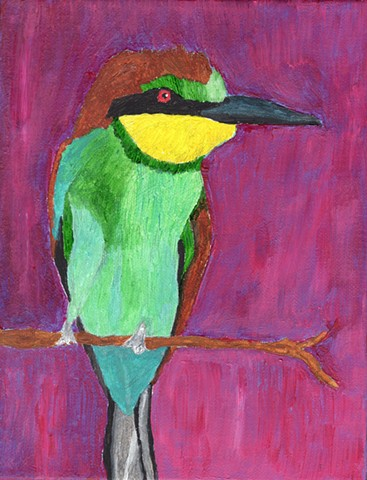 Acrylic painting of a European Bee-Eater by Christopher Stanton