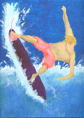 Painting of a surfer by Christopher Stanton