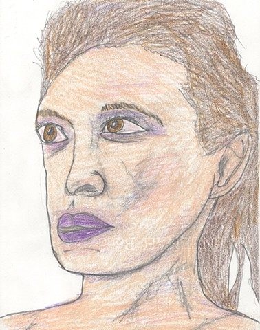 Colored pencil portrait drawing of a young woman by Christopher Stanton