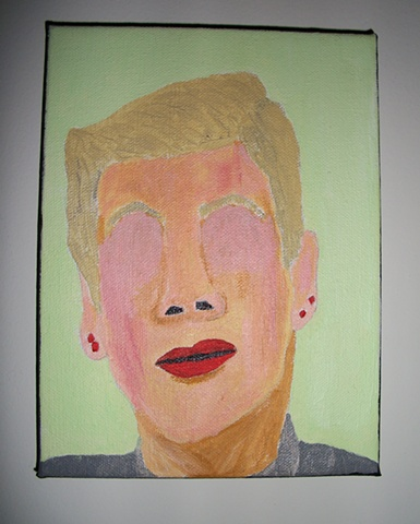 Acrylic painting of Ludmilla Drago (Brigitte Nielsen) from the film Rocky IV by Christopher Stanton