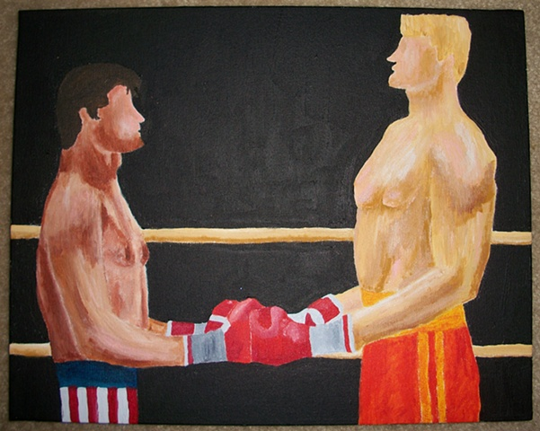 Acrylic painting of the fight between Rocky Balboa (Sylvester Stallone) and Ivan Drago (Dolph Lundgren) from the film Rocky IV by Christopher Stanton