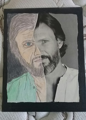 Mixed media portrait of Kris Kristofferson by Christopher Stanton
