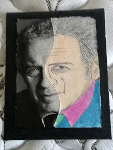 Mixed media portrait of Norman Mailer by Christopher Stanton