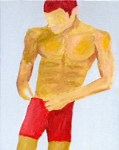 Acrylic painting of a shirtless man by Christopher Stanton
