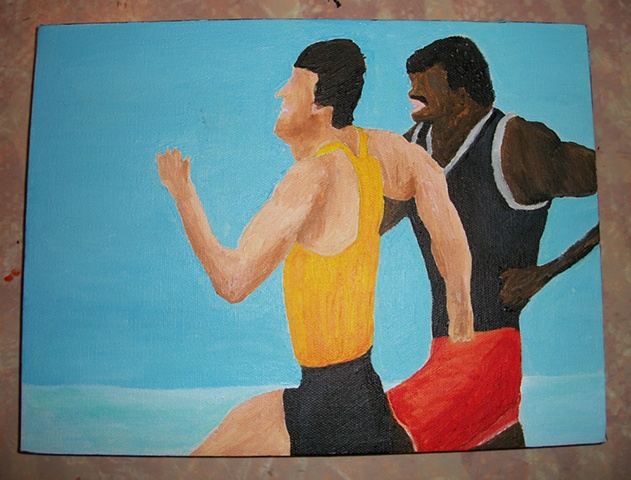 Acrylic painting of Rocky Balboa (Sylvester Stallone) and Apollo Creed (Carl Weathers) in a training moment from the film Rocky III by Christopher Stanton