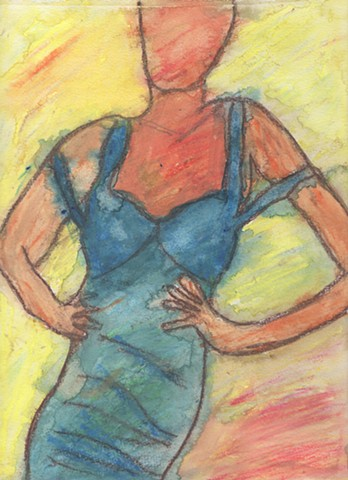 Drawing of a woman in a blue dress by Christopher Stanton