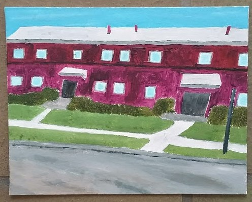 Acrylic painting of an apartment building in Northridge by Christopher Stanton