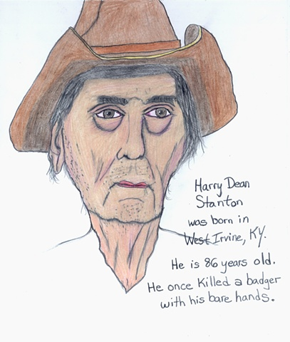 Drawing of the actor Harry Dean Stanton by Christopher Stanton