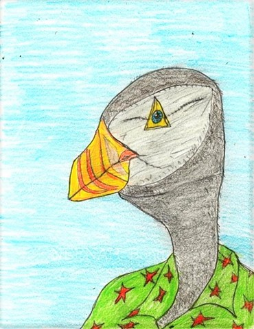 Drawing of a PuffinMan by Christopher Stanton