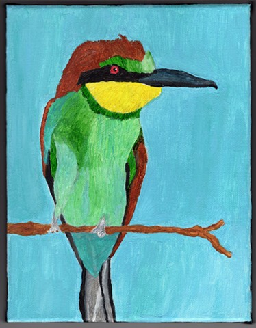 Acrylic painting of a European Bee-Eater bird by Christopher Stanton