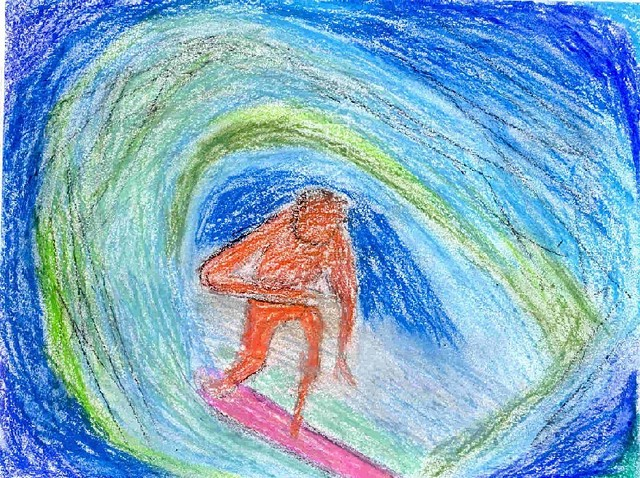 Oil pastel portrait of a surfer by Christopher Stanton