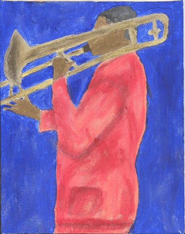 Acrylic painting of a jazz musician by Christopher Stanton