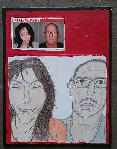 Mixed media art piece about Heidi Fleiss by Christopher Stanton