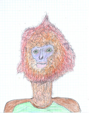 Drawing of a Maroon Leaf Monkeyman by Christopher Stanton