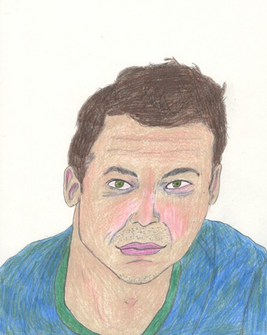 Colored pencil portrait drawing of a man by Christopher Stanton