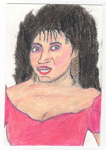 Colored pencil portrait of Sandra Clark (AKA Jackee) from 227