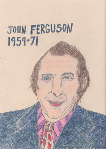 Drawing of Hockey Player John Ferguson of the Montreal Canadiens by Christopher Stanton