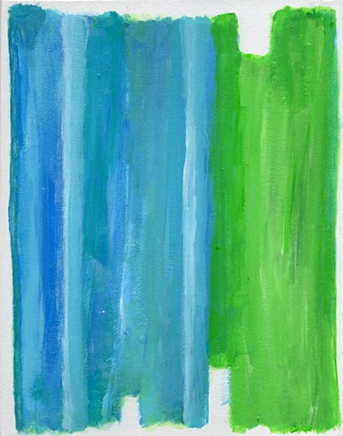 Green and blue abstract acrylic painting by Christopher Stanton