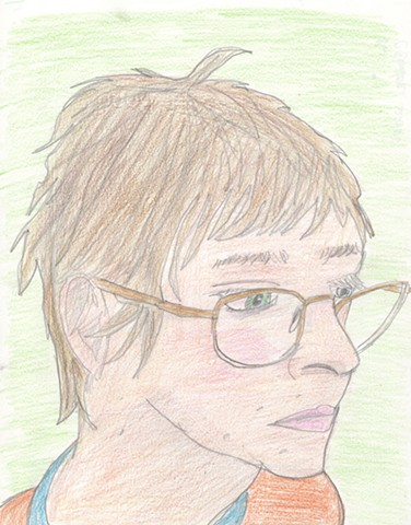 Portrait drawing of a man with glasses by Christopher Stanton