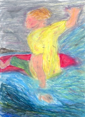 Pastel drawing of a surfer by Christopher Stanton