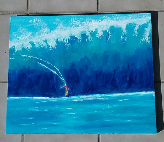 Acrylic painting of a big wave surfer by Christopher Stanton
