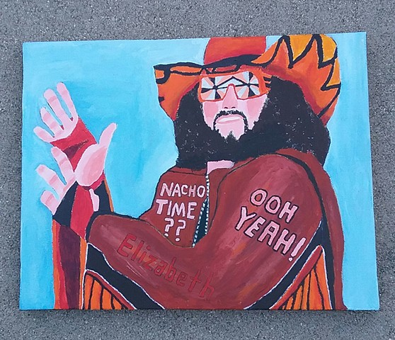 Acrylic painting of Macho Man Randy Savage by Christopher Stanton