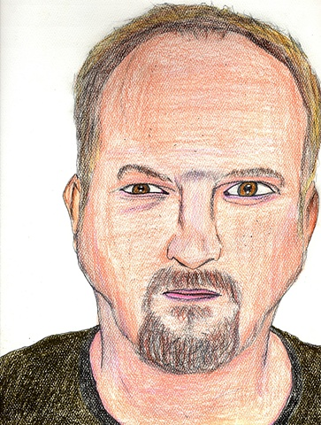 Drawing of the comedian Louis C.K. by Christopher Stanton