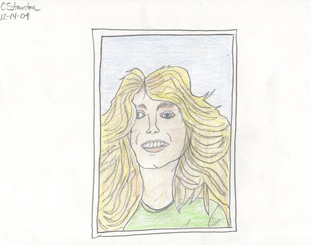 Colored pencil portrait of Farrah Fawcett by Christopher Stanton