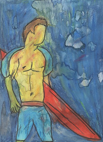 Oil pastel study of a surfer by Christopher Stanton